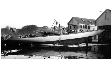 A photograph from the Edwin Levick Collection, taken by Levick, of the launching of the J-Class yacht, Weetamoe.