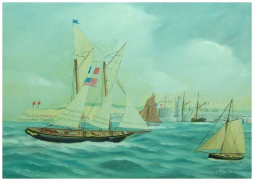 """America"" arriving in Le Havre harbour - By Philippe Conrad"