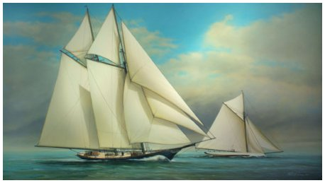 """Two Champions"" America & Puritan, 1885, America's Cup Trials Acrylic on Canvas 22"" x 38"""