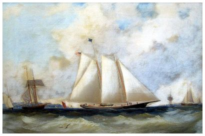 Schooner America in the Solent - By Charles Gregory