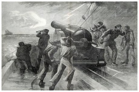This sketch appeared in an 1864 edition of Harper's Weekly and shows the chase of a Confederate Schooner by a Union Blockade fleet.