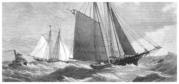 Antique Print of 1871 Yacht Races New York Livonia Dauntless