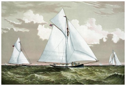AMERICA'S CUP, 1881. The American winner, 'Mischief' with the Canadian challenger 'Atalanta'. Color lithograph by Currier & Ives.