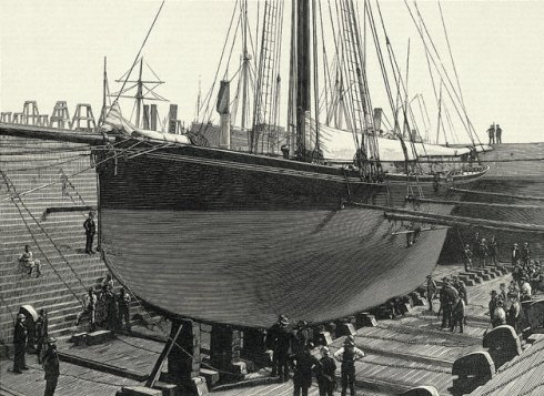 British Cutter Genesta in Dry Dock