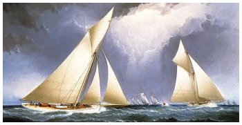 'Mayflower' Leading 'Puritan', America's Cup Trial Race, 1886