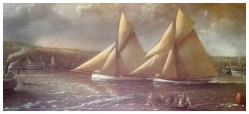 The start of the first race for the America's Cup, September 7th 1886, painted by Admiral Richard Brydges Beechey, RN