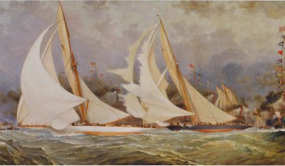 Spinnaker Letting Go by Barlow Moore depicts Watson's Valkyrie II losing the 1893 Americas Cup to Nat Herreshoff's Vigilant