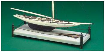 A miniature ivory model of the America's Cup defender Vigilant