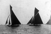 1-01/06/1908-Royal Harwich Yacht Club Regatta. White Heather leading Shamrock. Completing first round.