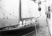 968-Hoisting anchor on Shamrock. August 1908.