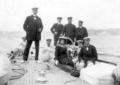 1421-Sir Thomas Lipton, the Queen of Spain and King Alfonso's party aboard Shamrock. c1910.