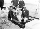 1426-Sir Thomas Lipton on board Shamrock with the Queen of Spain. c1910.