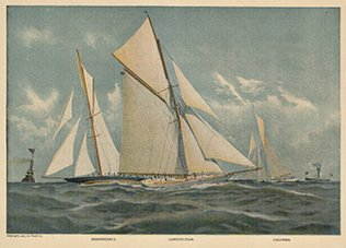 Original 1901 print of the ships Independence; Constitution and Columbia in a yacht race