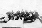 1051On board the America - Mrs Jameson, Mr Arnes, Captain Waters, Mr Jameson, Mr Hilliard, Mr Butler, Mr Ure and Sir Thomas Lipton. 1901.