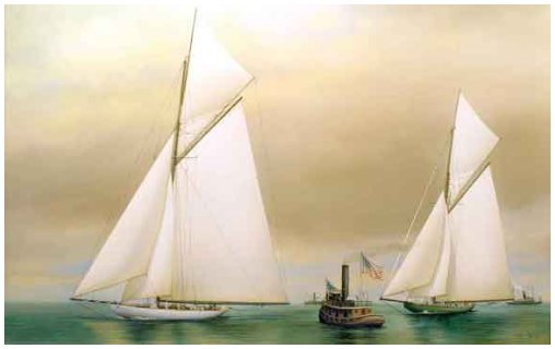 """Columbia Crossing the Finish Line, Shamrock II Behind"" America's Cup, September 28, 1901 by Richard Lane"