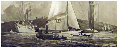 The Lipton fleet in American waters anchored behind Sandy Hook - old-print.com