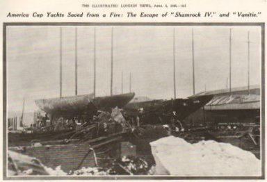 AMERICA CUP YACHT SAVED FROM FIRE THE ESCAPE OF SHAMROCK IV 1920