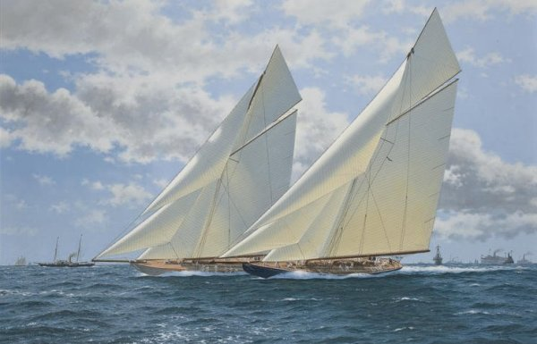 "The 1920 America's Cup, Resolute v. Shamrock IV signed lower right ""Terry Bailey"", oil on canvas 24 x 36 in. (30.9 x 91.4 cm.)"