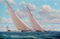 Stephen J. Renard (British, b.1943) | America's Cup, 1930; Enterprise leading Shamrock (V) | Maritime Pictures Auction | Christie's