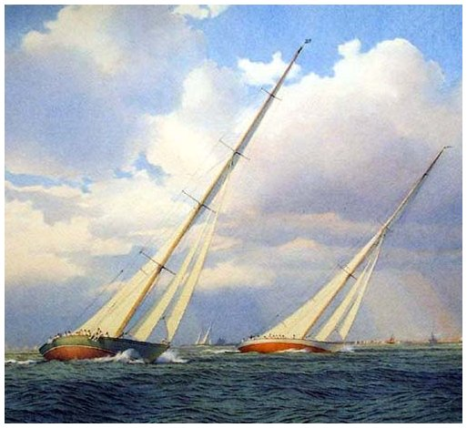 Martin Swan RSMA - Shamrock V racing Enterprise off Rhode Island, New York - Americas Cup 1930.