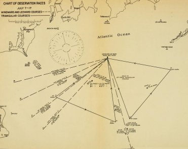 CHART OF OBSERVATION RACES (JULY 7- 17) - WINDWARD AND LEEWARD COURSES - TRIANGULAR COURSES