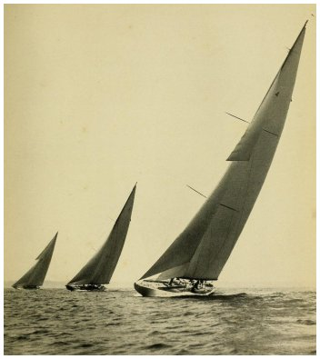 Start of Long Island Sound Race - Resolute (left) Vanitie (center) Enterprise (right)