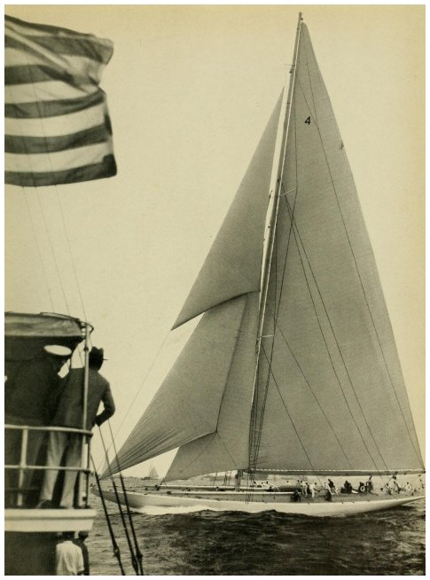 """ENTERPRISE"" WINNING THE FIRST AMERICA'S CUP RACE - The photograph was taken from the Race Committee tug (on left)."