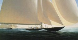 In the tradition of his most popular work John Mecray comes in close to the action in 1930 as the newly launched J-Class sloop Shamrock V races downwind with all sails set. King George V's Britannia can be seen in close pursuit.. Shamrock will soon depart for Newport Rhode Island to challenge for the America's Cup.