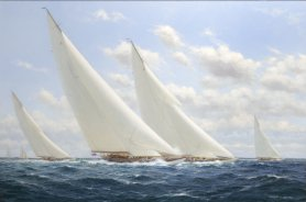 Stephen Renard (British b. 1947) - Whirlwind being passed by Enterprise to windward, with Yankees Weetamoe; America's Cup Selection 1930 - Callaghan Fine Paintings