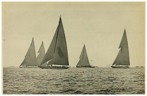 THIRTY SECONDS AFTER START OF FIRST RACE - Left to right: Enterprise, Vanitie, Whirlwind, Resolute, Weetamoe.