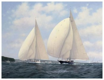 Velsheda and Endeavour in a downwind duel off Cowes - Brian J. JONES
