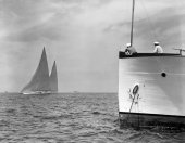 The start of a race between Weetamoe and Ranger prior to the 1937 America's Cup as seen from the race committee.  The view from their vessel is one of the best as they not only see the start, but are normally the first to see the yachts return.  Fortunately, Ranger was a successful defender of the Cup during the 1937 races.  From the Edwin Levick Collection.