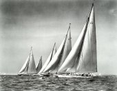 Photographed by Rosenfeld and Sons on July 8, 1937. Image of the last time that all five of the J Class sloops were together in history that year as seen undersail at the start of the J Class race during the New York Yacht Club Cruise on Buzzards Bay, Massachusetts. From left to right: port beam view of RAINBOW (J/4), ENDEAVOUR (J/K4), RANGER (J/5), ENDEAVOUR II (J/K6) and YANKEE (J/US2) on starboard close reach.