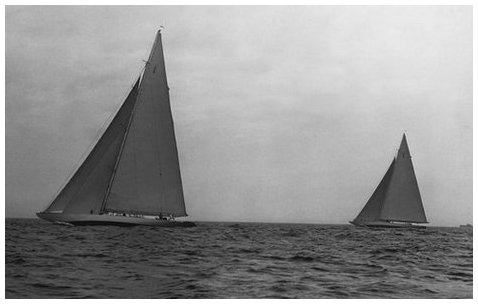 Ranger (left) and Yankee (right) during a America's cup trial race. From the Edwin Levick Collection.