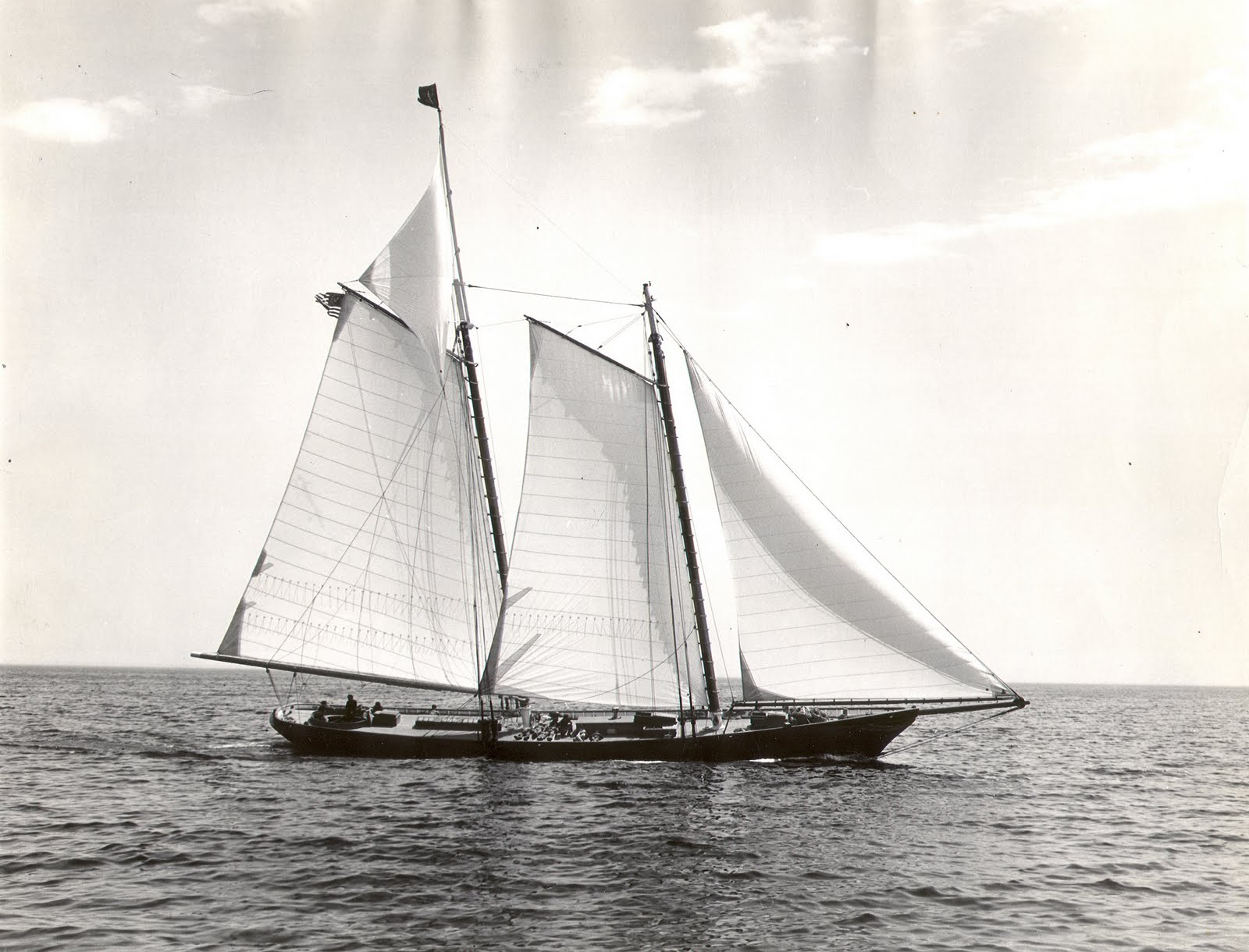 This replica of America was built for Rudolph J. Schaefer, Jr. by Goudy & Stevens Shipyard of Boothbay, Maine on 1967