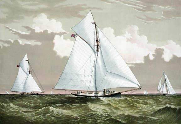 AMERICA'S CUP, 1881. The American winner, 'Mischief' with the Canadian challenger 'Atalanta' in the fourth international race for the America's Cup on September 9th & 10th, 1881. Color lithograph by Currier & Ives, c1881.